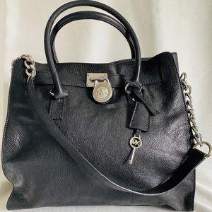 Michael Kors Hamilton LG Black Leather w/ Silver